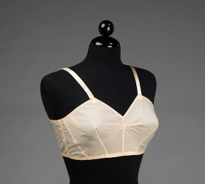 Wire free bra from the 1940's with lots of darting to help shape and support the breast. (photo from The Metropolitan Museum of Art)